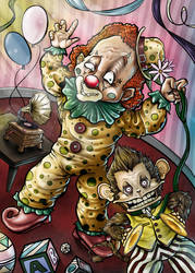 Sir claps a lot and the creepy clown by Kawashimadesigns