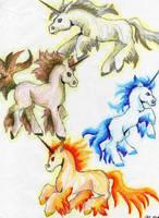 Elemental unicorns by CalypsoSilverhawk