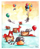 Foxes, boxes, raccoons, balloons by bonzaialsatian