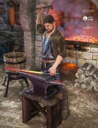 dForce Blacksmith Outfit for GEN8 Male by joelegecko