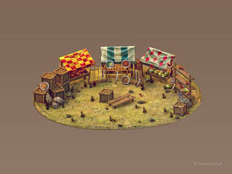 3d Game Market Building - game building icon by brainchilds