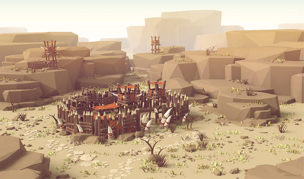 Stylised (low poly style) Orc Village by brainchilds
