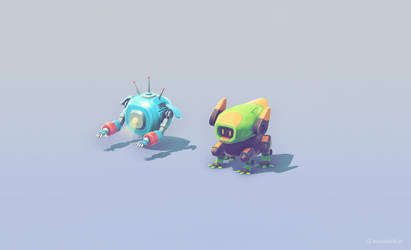 Space Robots Low poly game art by brainchilds