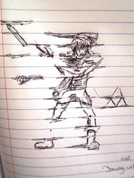 Drawing on lined paper: Link by evangeline40003