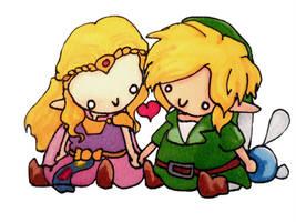 Chibi Link and Zelda by evangeline40003