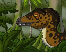 Face of Deinonychus by TyrannoNinja
