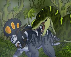 Tyrannosaurus versus Triceratops by TyrannoNinja