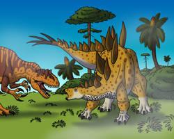 Allosaurus Attacks Stegosaurus by TyrannoNinja
