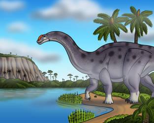 Brontosaurus by the River by TyrannoNinja