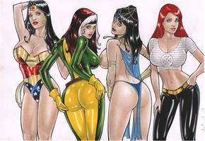 Rubismar:Wonder Woman/Rogue/Dejah Thoris/Jean Grey by comiconart