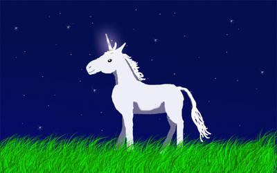 Unicorn Foal on a Starry Night by jennego