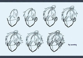 Drawing male hair by kawacy