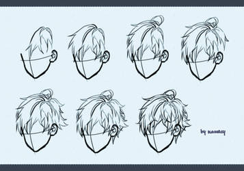 Drawing male hair by kawacy
