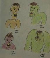 Quick cartoon sketch of screaming beings by JasonYoungdale