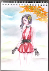 red dress watercolor12 by jinh-yuhn