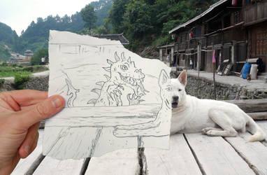 Dog versus Dragon by Art-of-Eric-Wayne