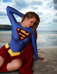Supergirl on Beach by ladynoelle