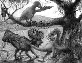 Velociraptor and Protoceratops by T-PEKC