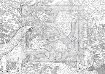 The Sauropod Forest -line art by T-PEKC
