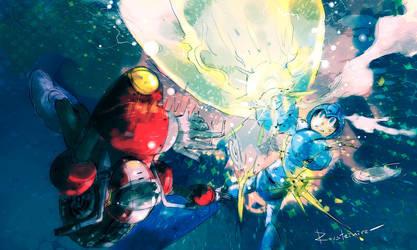 Nitroman Vs Megaman by Rousteinire