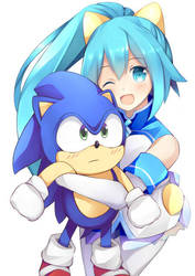 Hatsumi Sega and Sonic The Hedgehog by JokerAce03