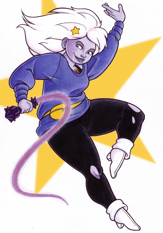 SO I KIND OF LOVE THE SHOW ALREADY AND WE ONLY HAVE A PILOT EPISODE. And Amethyst is a CUTIE. Well, Pearl's a cutie, too, and Garnet's a total babe, but I feel that Amethyst is gonna be my homegirl.
