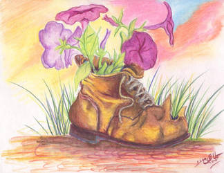 petunias in old shoe by Robert-Clell-Asher