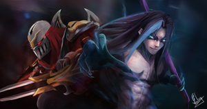 Zed y Kayn  Master and Apprentice by Axis-draws