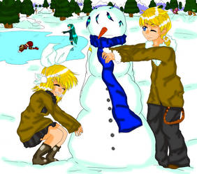 Vocaloid Snowman :Colored: by Katidid1992