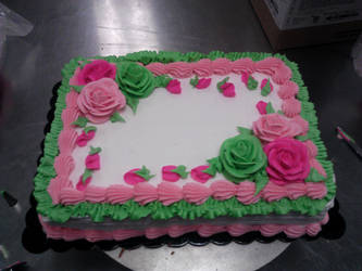 Pink and Green sheet cake by Tibra-chan