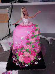 Barbie Doll Cake - Roses by Tibra-chan
