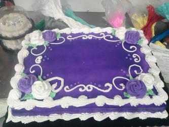 Purple and White Sheet Cake by Tibra-chan