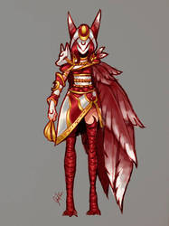 Blood Moon Xayah Concept Art Colored by AceCantes
