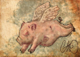 flying zombie pig by wallmasterr