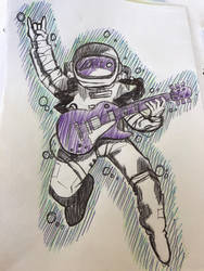 Spaceman with a guitar by ZeroDAspero