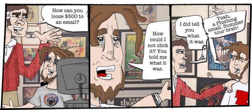 Comic for Cider Mag #1 Phishing Email by CosmicLionComix