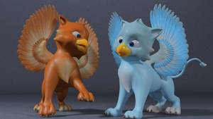 babies Griffins playing by 3DSud