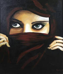 the girl with burkha by MYwhiteCANVAS