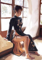 Girl in Qi Pao by PaperPillow