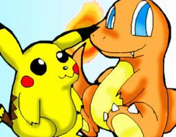 Charmander and Pikachu by Umbra-Flower