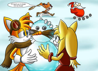 Tails and Zooey christmas by jaguarcats