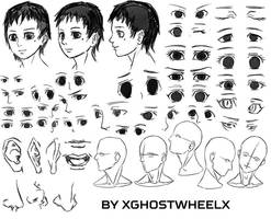 Manga face and eyes study - daily sketch by xghostwheelx