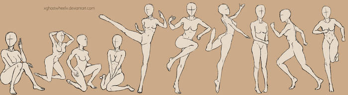 Female poses  - reference by xghostwheelx