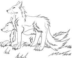 Wolf couple Lineart by enyce122