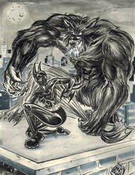 Cass Cain Batgirl vs werewolf by ElDiabloChingon