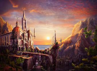 Sunset castle by qi-art
