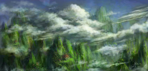 Storm Over Mossy Mountains by redmoonscape