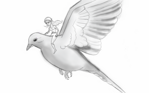 Elf riding Mourning Dove by tedbergeron