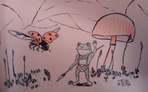 Teeny Tiny Toad encounters a Lady Bug by tedbergeron