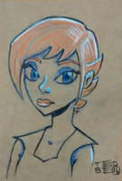 Faery sketch on brown paper by tedbergeron